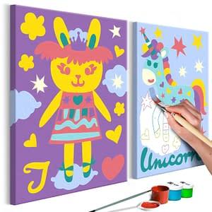Obraz do samodzielnego malowania – Królik i jednorożec – 33×23