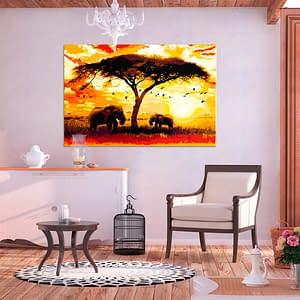 Obraz do samodzielnego malowania – Afryka o zachodzie słońca – 120×80