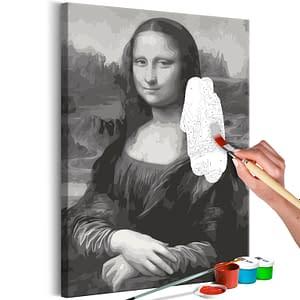 Obraz do samodzielnego malowania – Czarno-biała Mona Lisa – 40×60