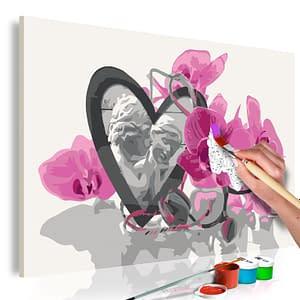 Obraz do samodzielnego malowania – Aniołki (serce i różowa orchidea) – 60×40