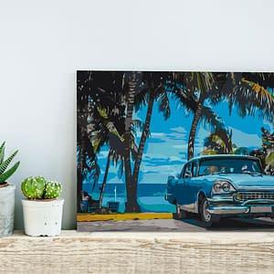Obraz do samodzielnego malowania – Auto pod palmami – 60×40