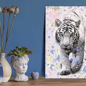 Obraz do samodzielnego malowania – Biały tygrys – 40×60