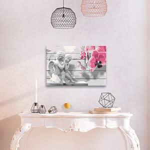Obraz do samodzielnego malowania – Aniołki (różowa orchidea) – 60×40