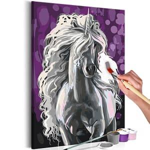 Obraz do samodzielnego malowania – Biały jednorożec – 40×60