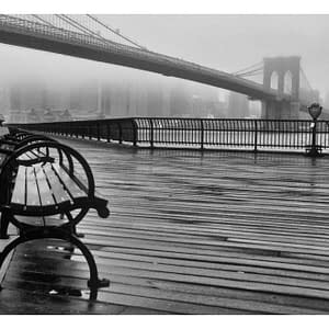 Fototapeta – A Foggy Day on the Brooklyn Bridge