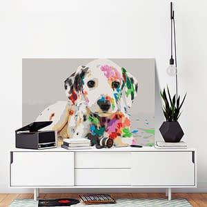 Obraz do samodzielnego malowania – Kolorowy szczeniak – 60×40
