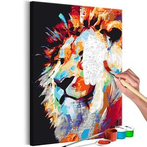 Obraz do samodzielnego malowania – Portret kolorowego lwa – 40×60