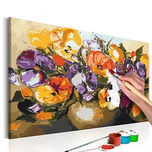 Obraz do samodzielnego malowania – Bratki w wazonie – 60×40