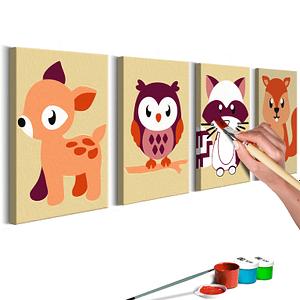Obraz do samodzielnego malowania – Leśne zwierzątka – 44×16.5