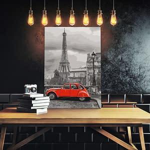 Obraz do samodzielnego malowania – Auto w Paryżu – 40×60