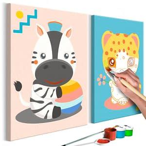 Obraz do samodzielnego malowania - Zebra i leopard