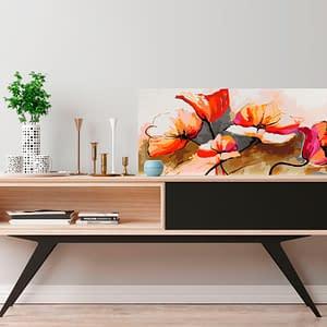 Obraz do samodzielnego malowania – Kwiaty – delikatne maki – 100×40