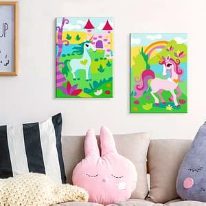Obraz do samodzielnego malowania – Bajkowe jednorożce – 33×23