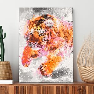 Obraz do samodzielnego malowania – Biegnący tygrys – 40×60