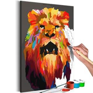 Obraz do samodzielnego malowania – Kolorowy lew (duży) – 40×60