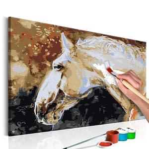 Obraz do samodzielnego malowania – Biały koń – 60×40