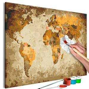 Obraz do samodzielnego malowania – Brązowa mapa świata – 60×40