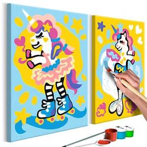 Obraz do samodzielnego malowania – Zabawne jednorożce – 33×23
