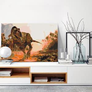 Obraz do samodzielnego malowania – Groźny dinozaur – 60×40