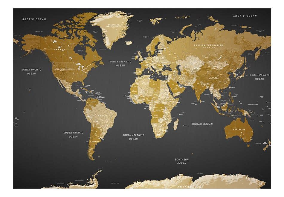 Fototapeta samoprzylepna – Żółto-czarna mapa świata: nowoczesna geografia