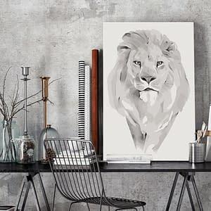 Obraz do samodzielnego malowania – Biały lew – 40×60