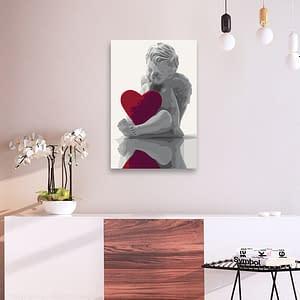 Obraz do samodzielnego malowania – Aniołek (czerwone serce) – 40×60