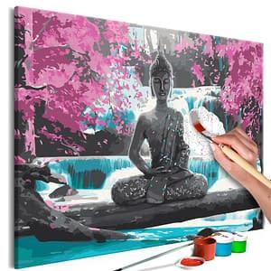 Obraz do samodzielnego malowania – Budda i wodospad – 60×40
