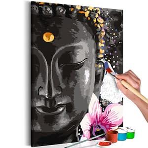 Obraz do samodzielnego malowania – Budda i kwiat – 40×60