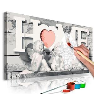 Obraz do samodzielnego malowania – Aniołki (Home) – 80×40