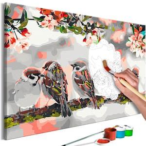 Obraz do samodzielnego malowania – Ptaszki na gałęzi – 60×40